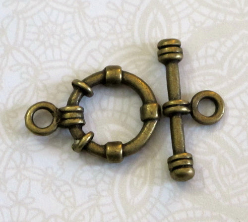 Antiqued Brass Toggle Clasp_15mm_Bracelet Clasp_Necklace Clasp_Jewelry Design_