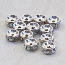 Rhinestone Spacer-Crystal Rondelle-Spacers-7mm-Preciosa Crystal-Silver Plated-Crystal AB-10 pieces-Rainbow