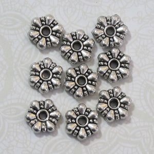 10mm Spacer Beads_20 Beads_Antiqued Silver