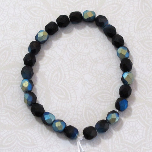 Matte Jet AB Round Czech Firepolish Glass Beads 6mm 25 pieces Peacock Blue Green