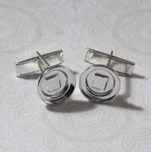 Cufflink Bezel Blanks for 13mm Stone_ Mixed Media Bezel for Crystal Clay_5 pair