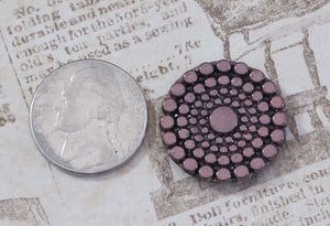 22.5mm Cab-Metallic Bronze-Circles-Button top-Czech-Glass Cabochon-Bead Embroidery-Jewelry Design