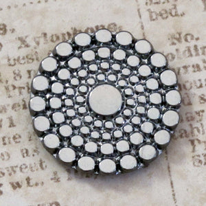 22.5mm Button Top Cabochon Metallic Antiqued Silver Circles Czech Glass Cab