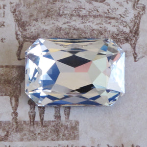 1 pc) 27x18.5mm Vintage 90s Swarovski Crystal Rectangle Fancy Stone_Crystal Clear Gold Foil Back_Article 4627