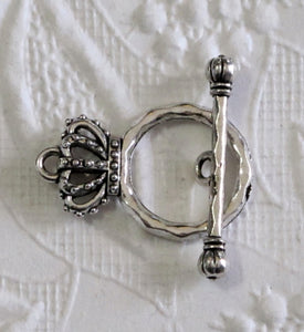 3 pcs_Crown Toggles_ 15mmx24mm_Antiqued Silver Pewter Clasp Twisted Toggle