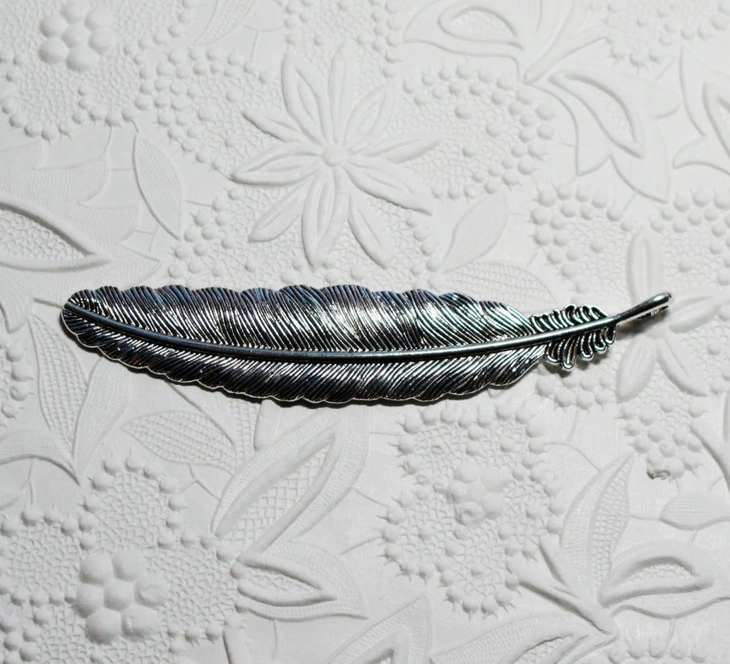 Feather Pendant_107x20mm_Antiqued Silver
