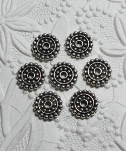 14mm Spacer Beads_DaisySpacers_Antiqued Silver Pewter
