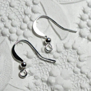 French Earwires -Silver Plate-Ball Detail-10 pair-Jewelry Design-Designers Bulk-Bright Silver-