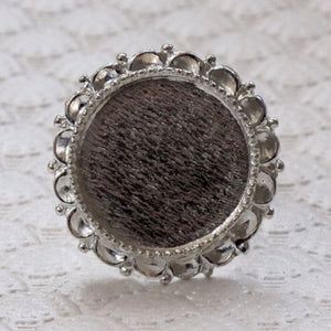 20mm Bezel Ring_Bright Silver_Adjustable_Mixed Media_Resin_Crystal Clay