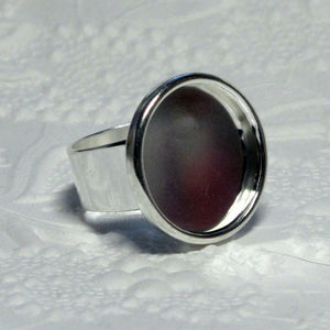 18mm Round Bezel Ring_Silver Plated_Adjustable
