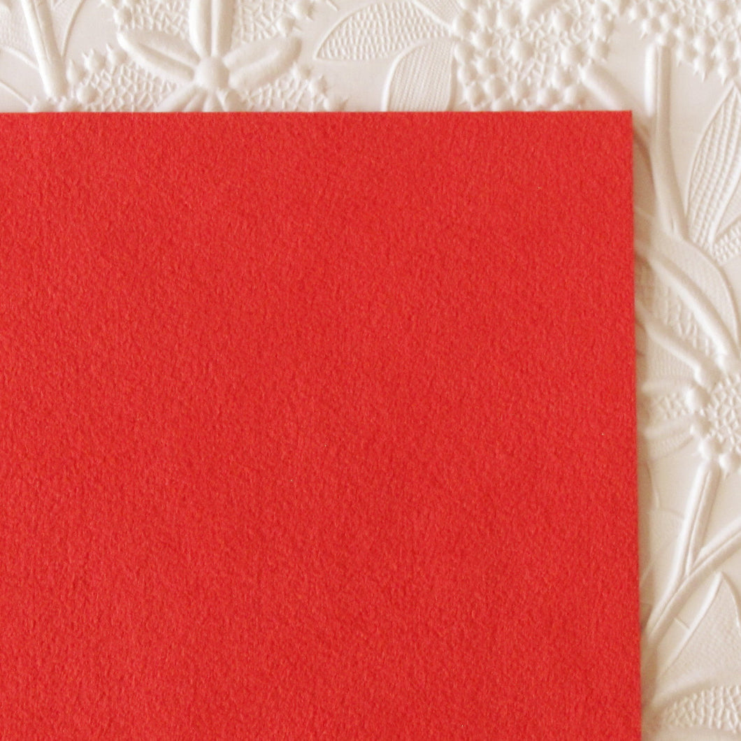 Scoundrel Red Ultrasuede Fabric_Bead Embroidery_8.5x8.5 square_Holiday RED_Microsuede