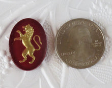 25x18mm CAB_Lion Cabochon_Crimson RED