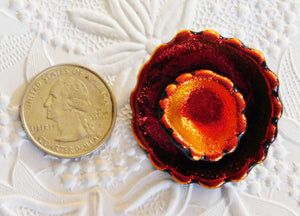 Dichroic Pendant_Abstract FIRE FLOWER_Glass Pendant_Red_Orange_Metallic_OOAK_Dichro