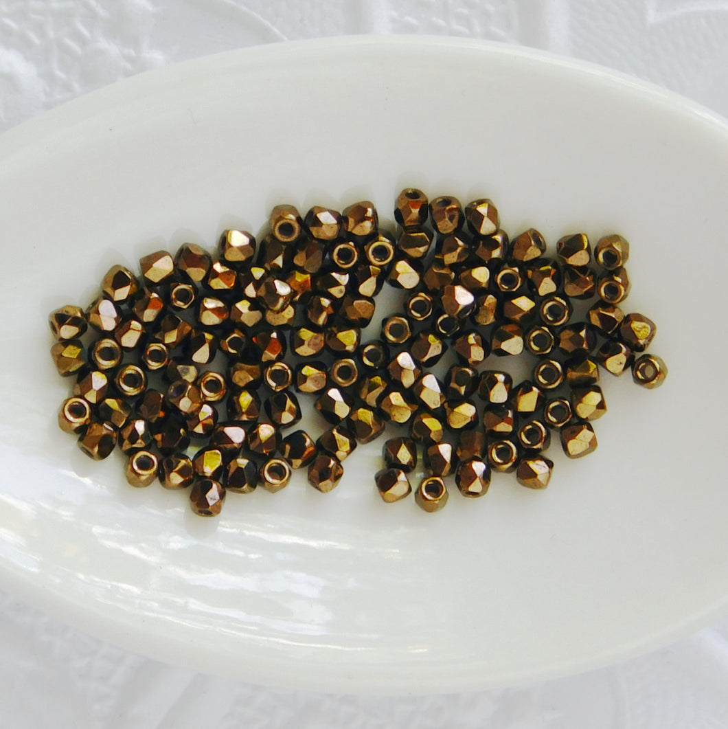 True 2mm Faceted Firepolish Beads  50 pieces Jet Metallic Bronze Vintage Style Victorian