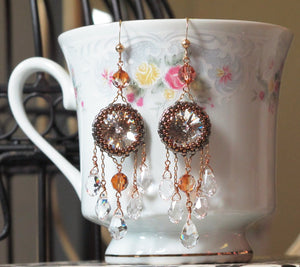 Beaded Earring Kit_Crystal Chandeliers_Lucent Chandeliers_Peyote Stitch_Sparkle_Pattern_Instructions