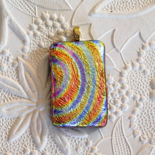 Dichroic Glass Pendant_Textured_Rainbow_Gold Bail_Orange_Lavender_OOAK_Dichro_Jewelry Design