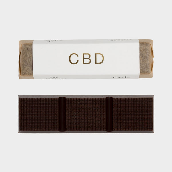 Picture of Dark CBD Chocolate and a Premium Wrapped Bar with Gold CBD Writing