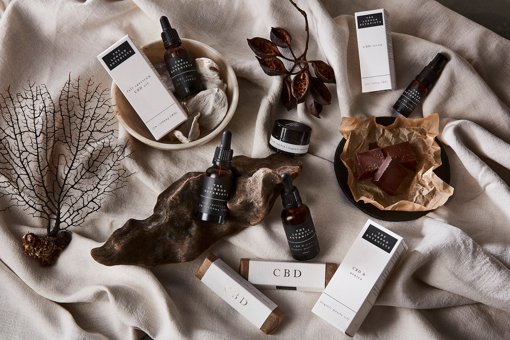 The London Botanists CBD collection in flat lay