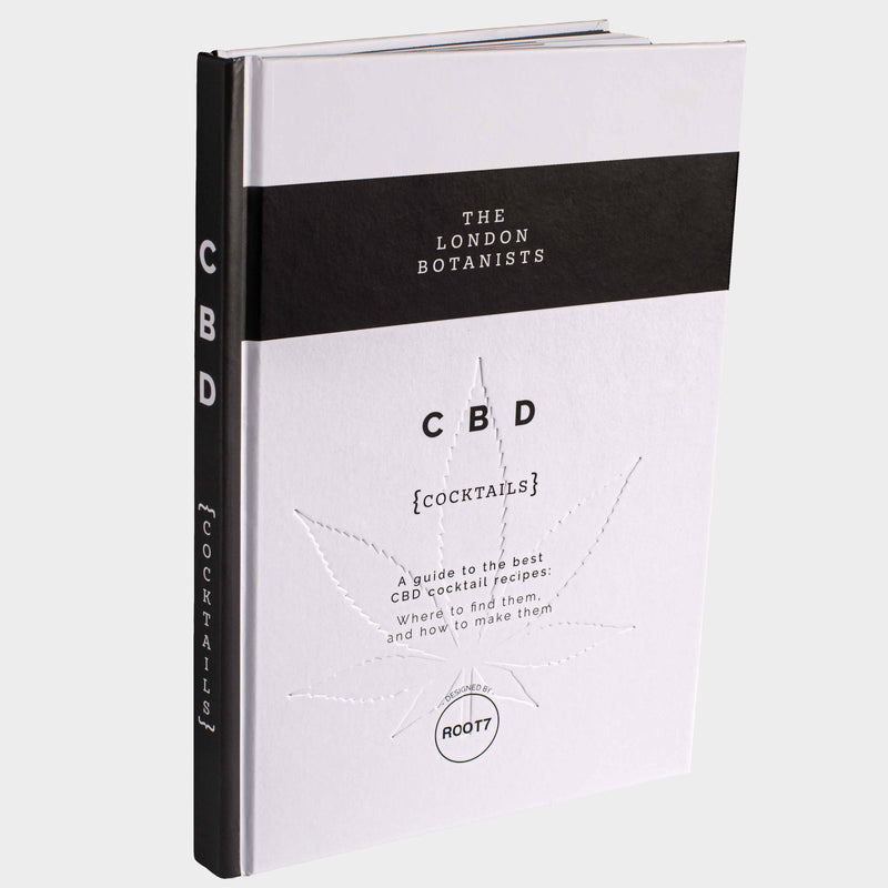 an angled picture of a black and white CBD Cocktail Book