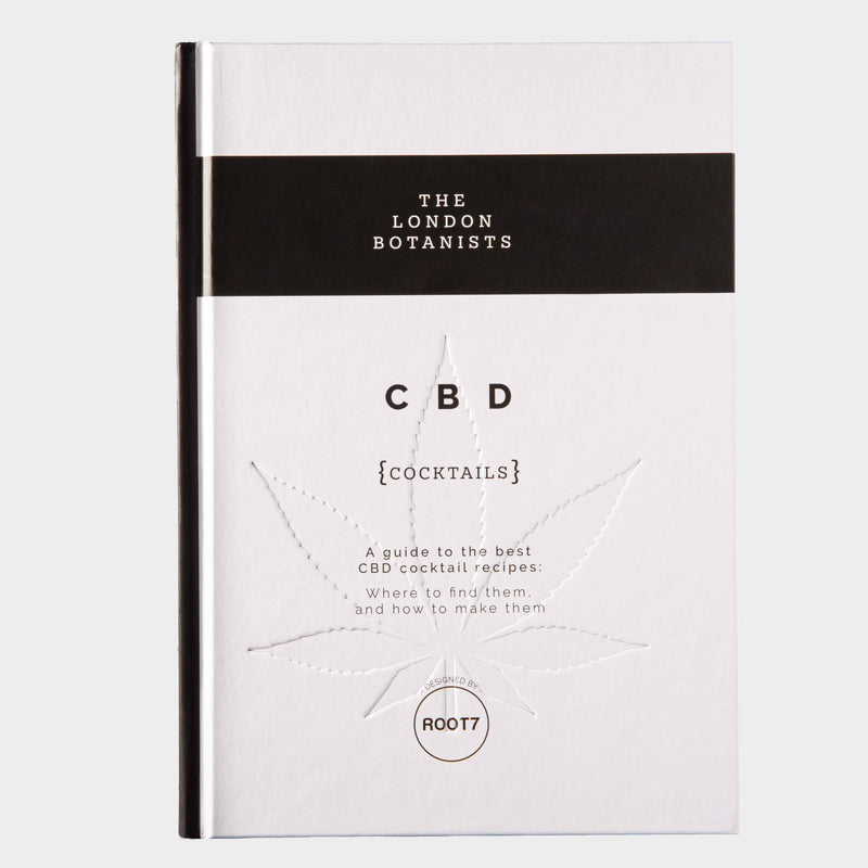 The front cover of a black and white CBD Cocktail Book with an indented cannabis leaf