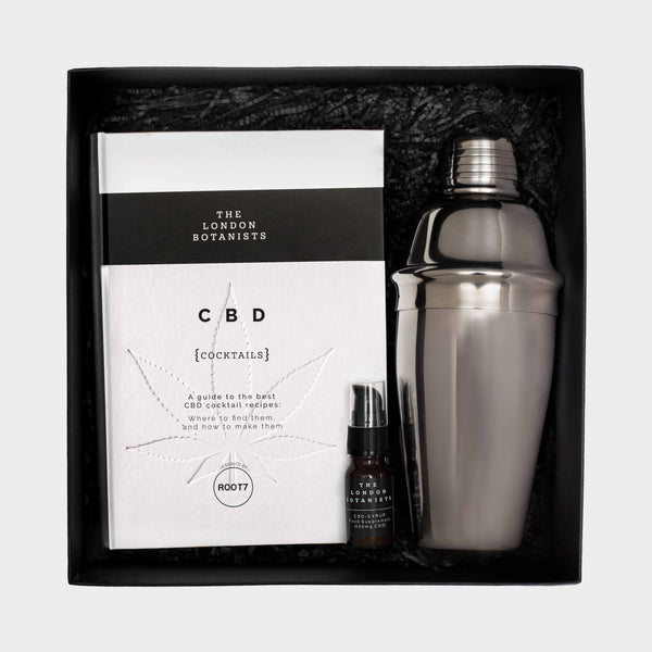 a presentation box Cocktail Box With a CBD Drink, CBD cocktail book and a cocktail shaker