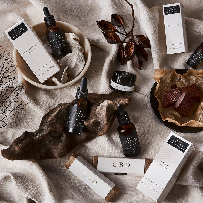 Moody image of CBD products on cream background with dried plants.