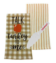 Load image into Gallery viewer, Talk Turkey to Me Thanksgiving Kitchen Towel, Striped Dishtowel and Pie Server