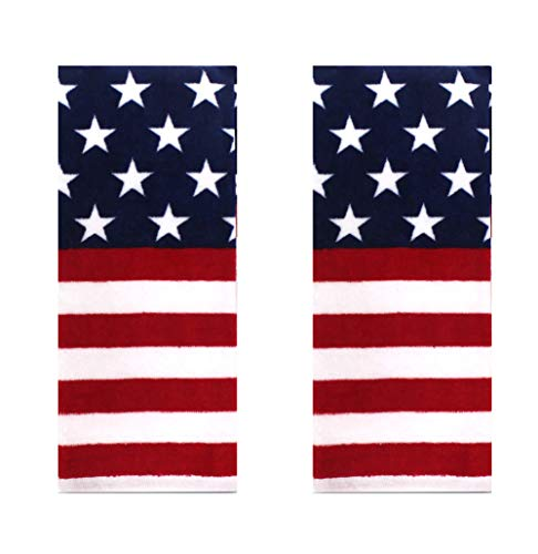 Celebrate Americana Patriotic Towel Set with Stars and Stripes in Red, White, and Blue