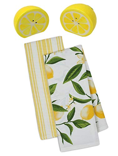 Lemon Kitchen Towels with Salt and Pepper Shaker Set