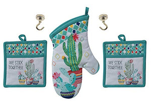 Cactus Theme Kitchen Pot Holders, Oven Mitt and Magnetic Hanging Hooks