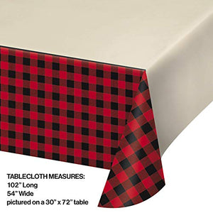 Buffalo Plaid Tableware Set for 16 Guests, Includes Table Cover, Plates, Napkins, Cutlery, Cake Cutter