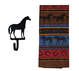 Western Dish Towel with Horse Shaped Magnetic Hook