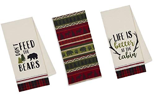 Cabin Lodge Themed Kitchen Towels Set