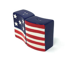 Load image into Gallery viewer, USA Stars and Stripes Dishtowels with American Flag Salt and Pepper Shakers