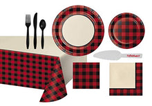 Load image into Gallery viewer, Buffalo Plaid Tableware Set for 16 Guests, Includes Table Cover, Plates, Napkins, Cutlery, Cake Cutter