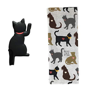 REX AND ROVER Cat Kitchen Gifts - Cotton Dish Towel with Black Cat Shaped Magnetic Hook - 2 Piece Set for Men or Women