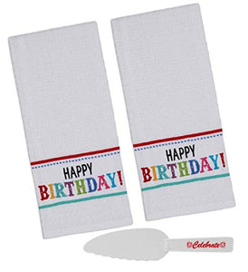 Happy Birthday Kitchen Towels Set with Cake Cutter