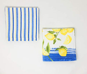 Striped Lemon Kitchen Towels with Matching Dishcloths