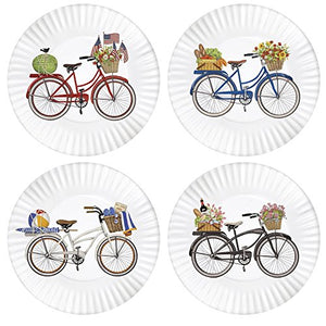 Summer Bikes 9-inch Melamine Plates, Set of 4