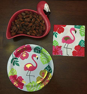 Flamingo Shaped Dip Bowl and Spreader plus Cocktail Napkins and Party Plates