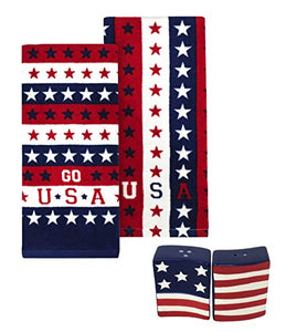 USA Stars and Stripes Dishtowels with American Flag Salt and Pepper Shakers