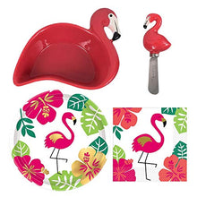 Load image into Gallery viewer, Flamingo Shaped Dip Bowl and Spreader plus Cocktail Napkins and Party Plates