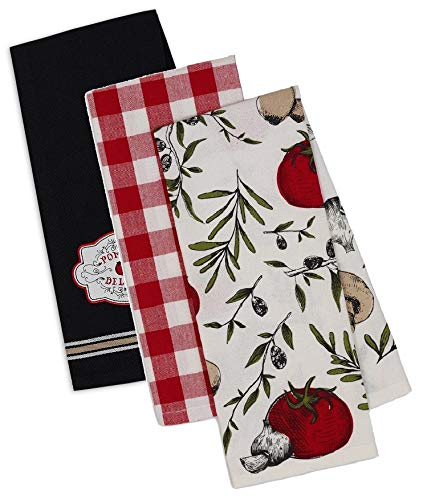 Italian Themed Decorative Cotton Kitchen Towels | 3 Towel Set for Dish and Hand Drying
