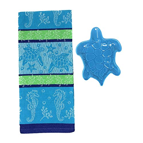 Sea Turtle Kitchen Towel with Turtle Shaped Dish in Blue or Green