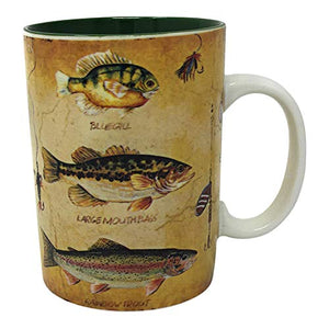 Fishing Mug 16 oz with 15 Inch Fisherman Bait Towel and Fish Mug