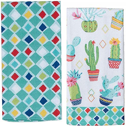 Cactus Themed Decorative Cotton Kitchen Towel Set