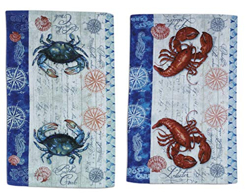 Lobster & Crab Nautical Kitchen Towels Dishtowel Set for Cleaning, Drying, Polishing and Baking