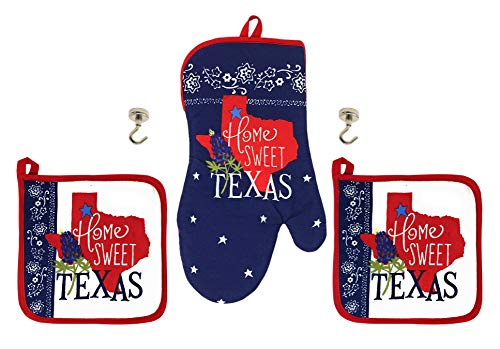 Home Sweet Texas Potholders Oven Mitt and Magnetic Hanging Hooks