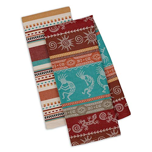 Southwest Dish Towel Set of 2 Kitchen 100% Cotton Kokopelli Gecko Stripes