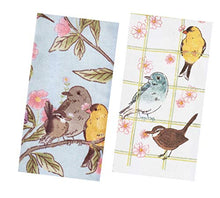 Load image into Gallery viewer, Kitchen Towels Set with Spring Birds, Songbirds, Hummingbirds